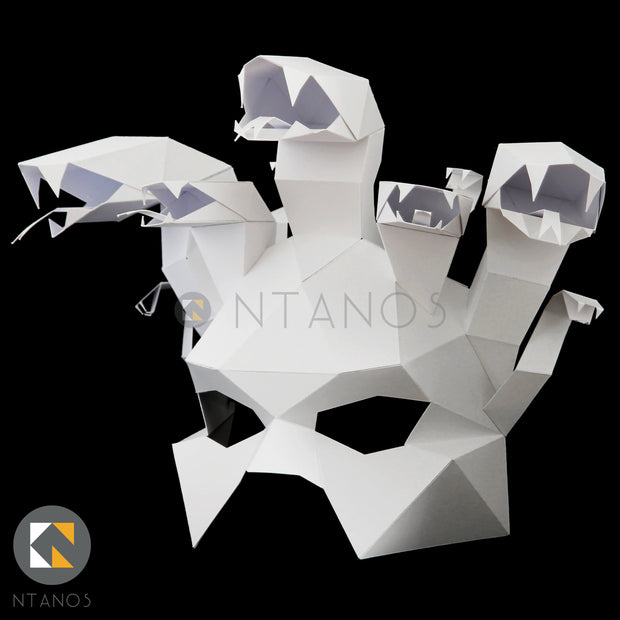 Geometric low poly papercraft Medusa paper mask by Ntanos