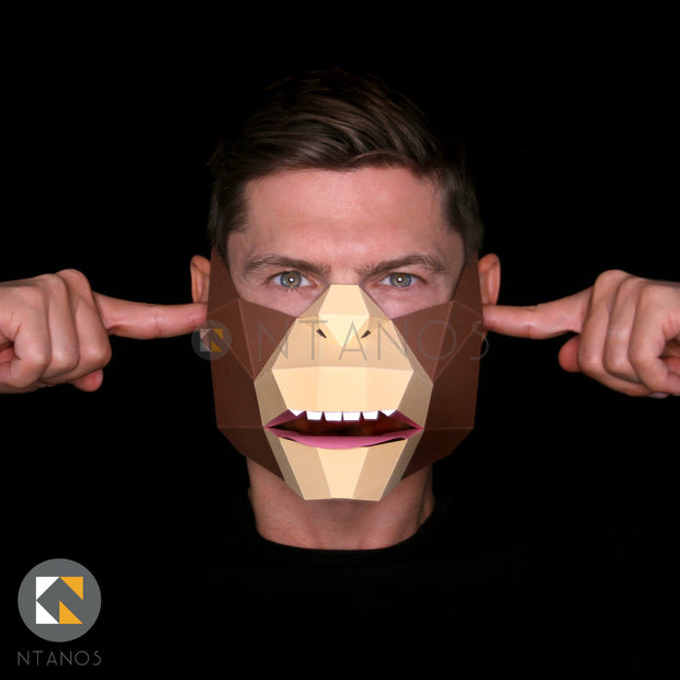 Monkey Paper Face mask Ape Template Ntanos