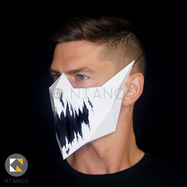 Paper muzzle mouth mask by Papercraft PDF template Ntanos for Halloween