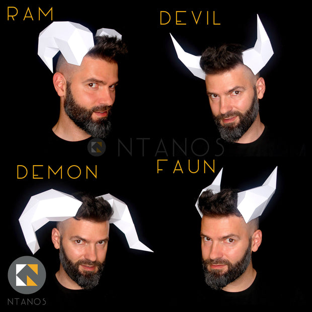 Paper horns Halloween devil Papercaft Ntanos
