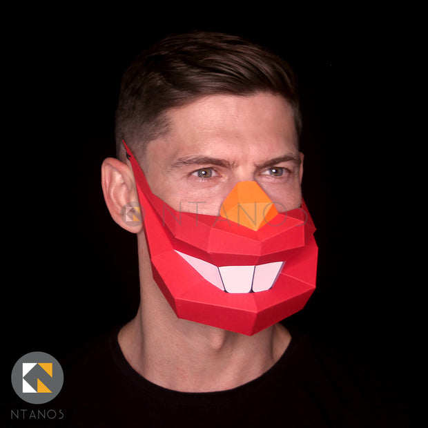 Papercraft Clown Half Face Paper Mask Template Ntanos
