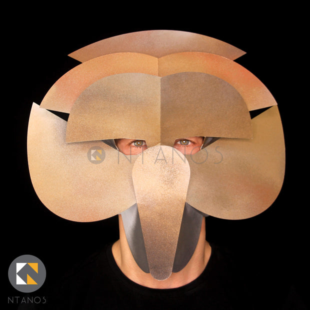 Geometric papercraft mask template by Ntanos