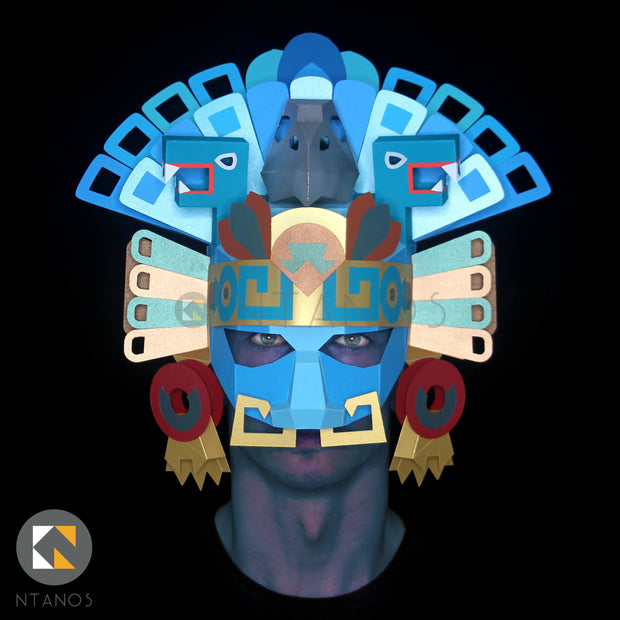 Aztec Mayan Headdress Mask Papercraft templates Ntanos