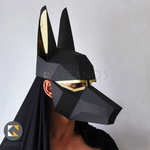 Low poly papercraft mask of ancient Egyptian god Anubis by Ntanos