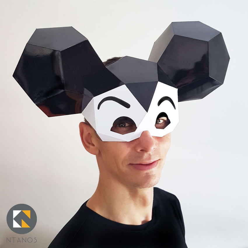 Geometric low poly papercraft Mouse paper animal mask by Ntanos