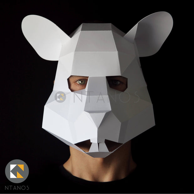 Animal mask low poly papercraft rat mask by Ntanos