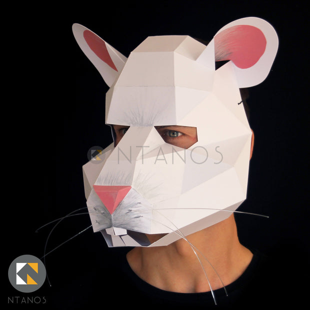 Animal mask low poly papercraft mouse mask by Ntanos