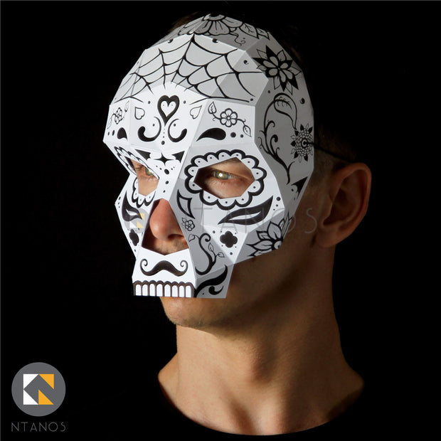 Geometric low poly Halloween papercraft Skull paper mask by Ntanos