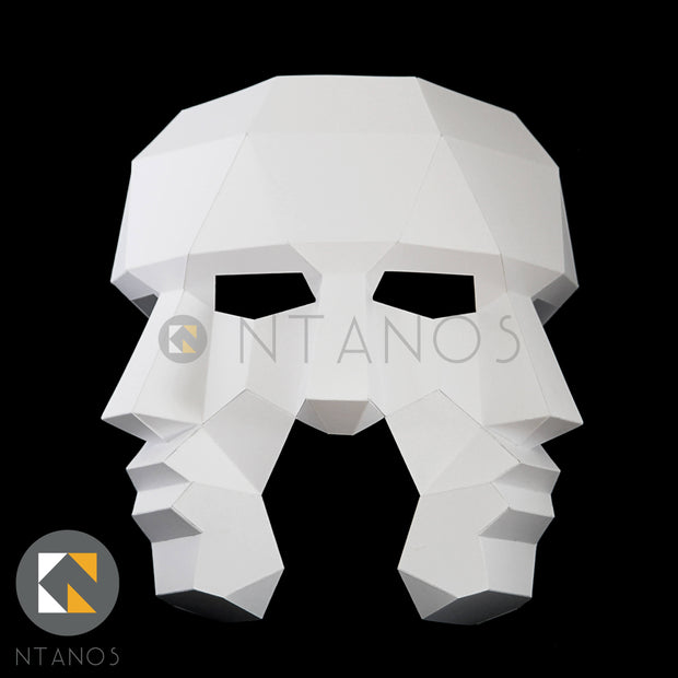 Geometric low poly papercraft Three Face paper mask by Ntanos