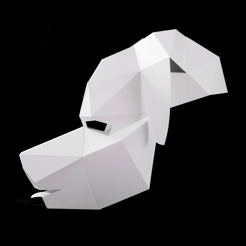 Geometric low poly papercraft puppy dog mask by Ntanos