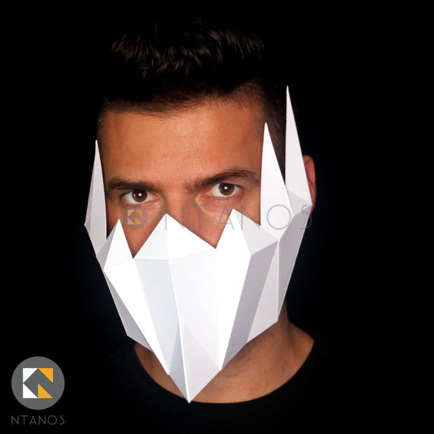 Paper muzzle Halloween mask by Papercraft PDF template Ntanos for Halloween