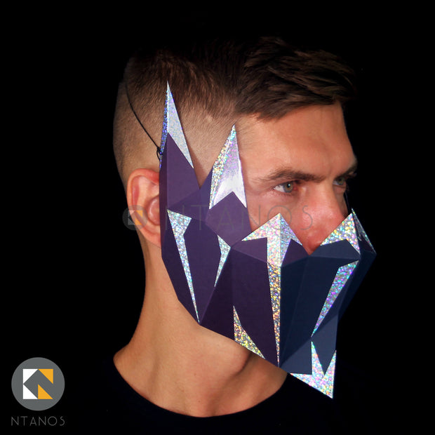 Paper muzzle 3D mask by Papercraft PDF template Ntanos for Halloween