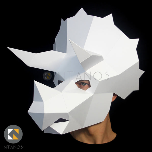 Triceratops Dinosaur paper mask by Ntanos Papercraft