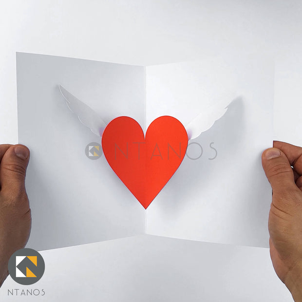 DIY Valentine's Day pop-up card winged heart by Ntanos
