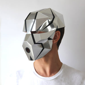 Geometric low poly papercraft humanoid Robot paper mask by Ntanos