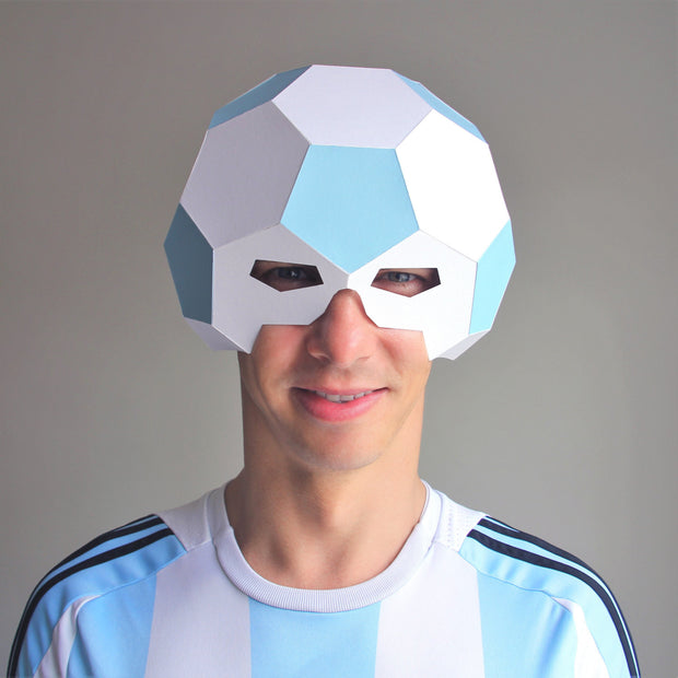 Geometric low poly papercraft football mask by Ntanos