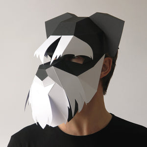 Geometric low poly papercraft Schnauzer dog mask by Ntanos