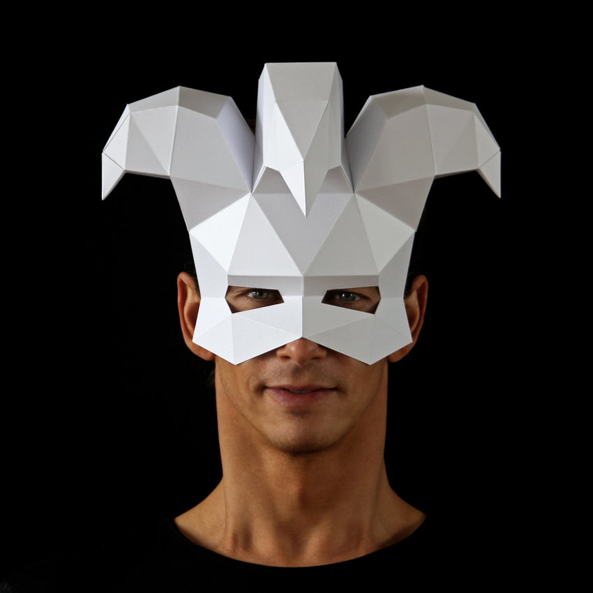 Geometric low poly papercraft Joker Jester paper mask by Ntanos