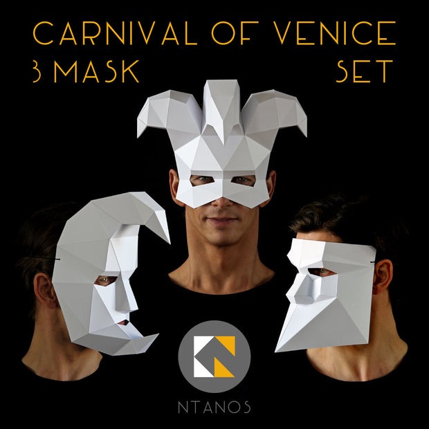 Geometric low poly Venetian papercraft mask set by Ntanos