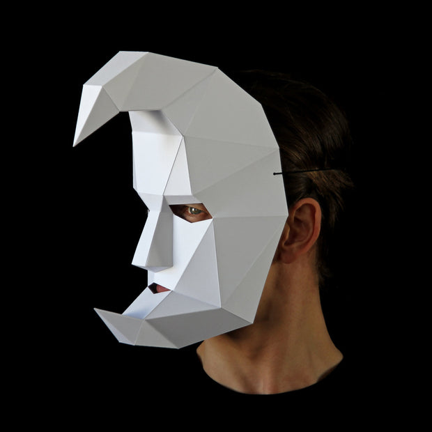 Geometric low poly papercraft Half Moon mask by Ntanos