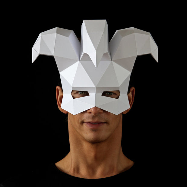 Geometric low poly Venetian papercraft joker mask by Ntanos