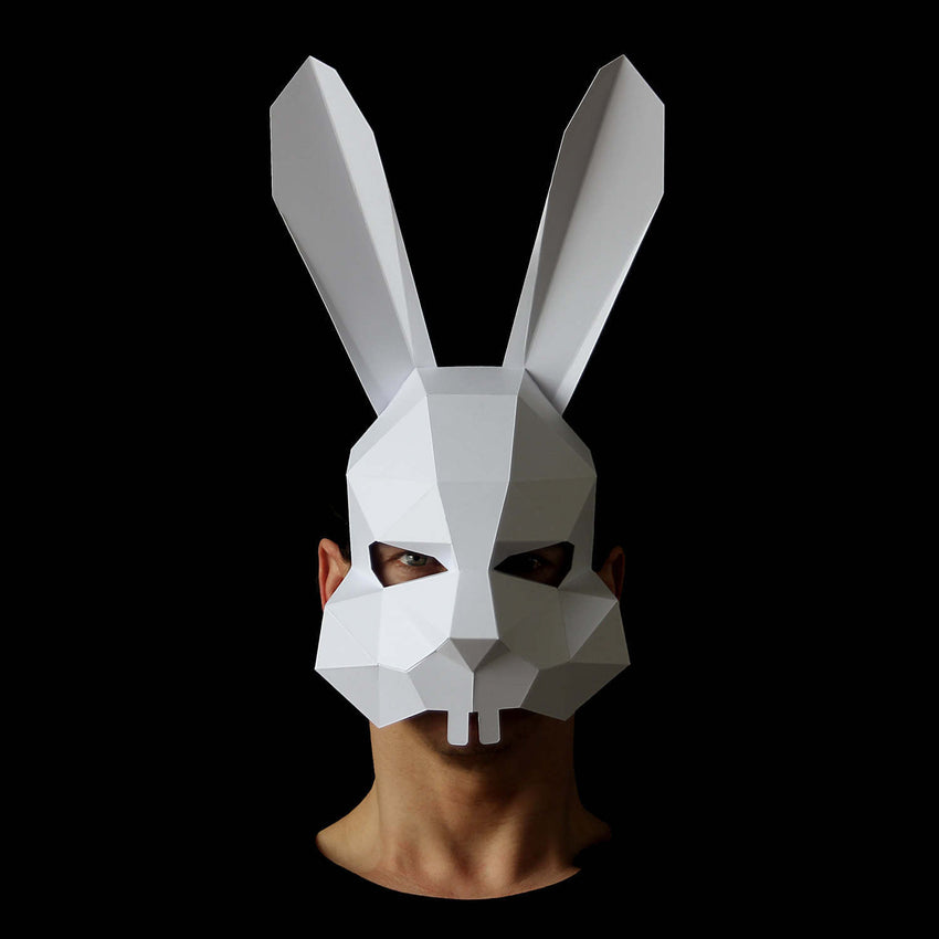 Geometric low poly animal papercraft bunny mask by Ntanos