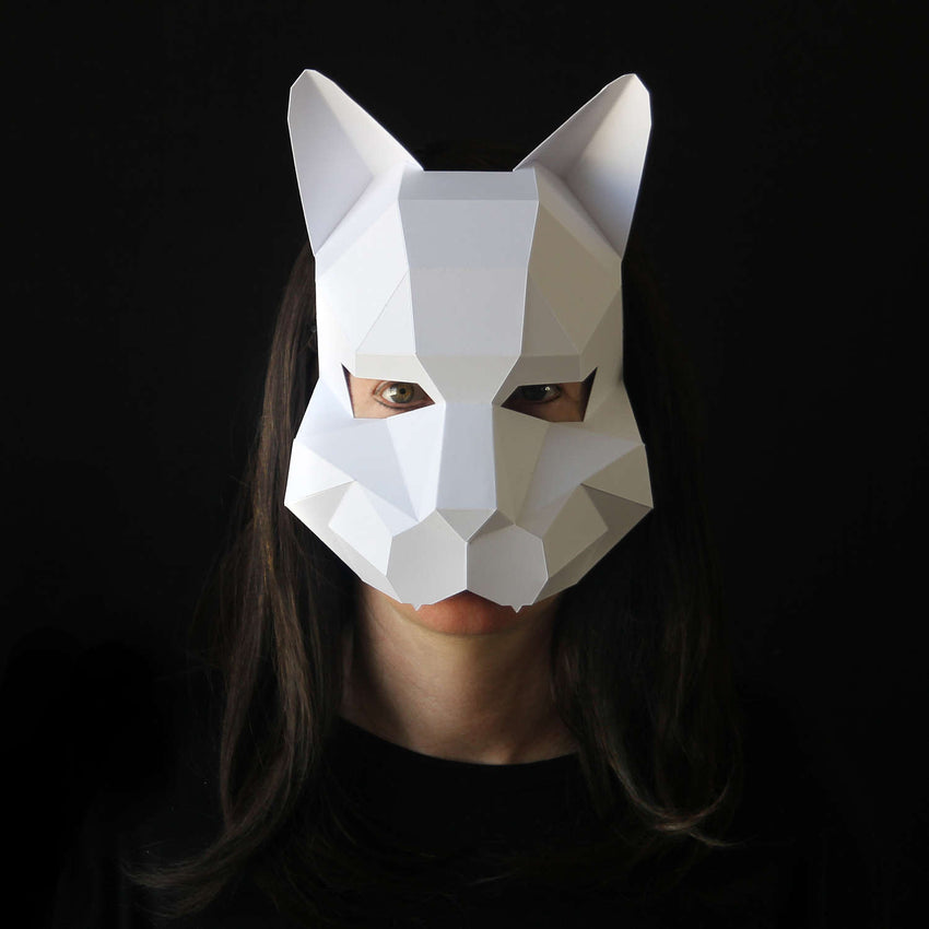 Geometric low poly papercraft cat mask by Ntanos