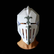Geometric low poly papercraft Knight armor helmet paper mask by Ntanos