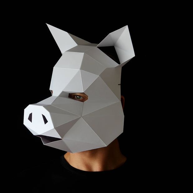 Geometric low poly papercraft Pig paper animal mask by Ntanos