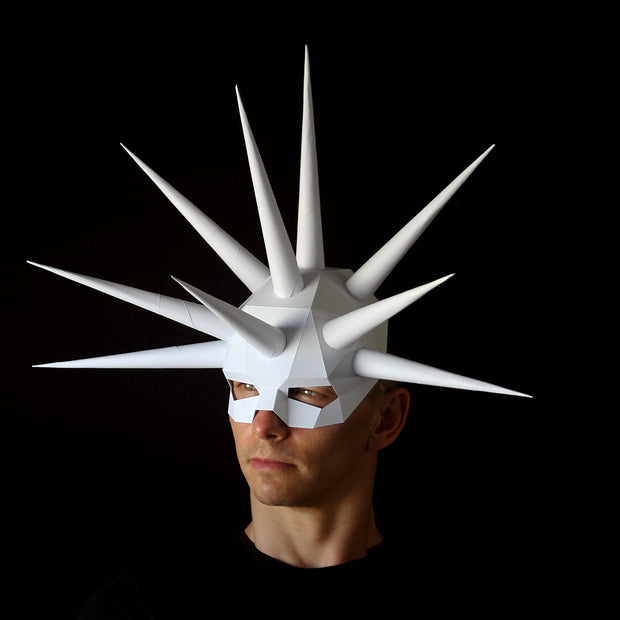 Geometric low poly papercraft Urchin paper mask by Ntanos