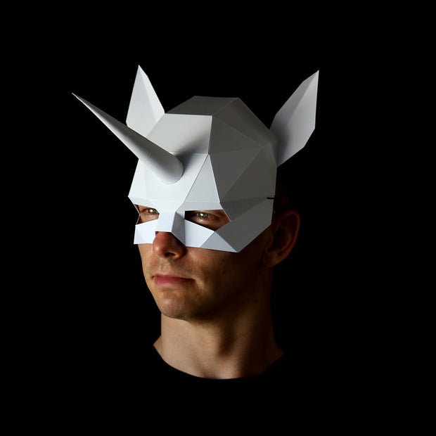 Geometric low poly papercraft Unicorn paper mask by Ntanos