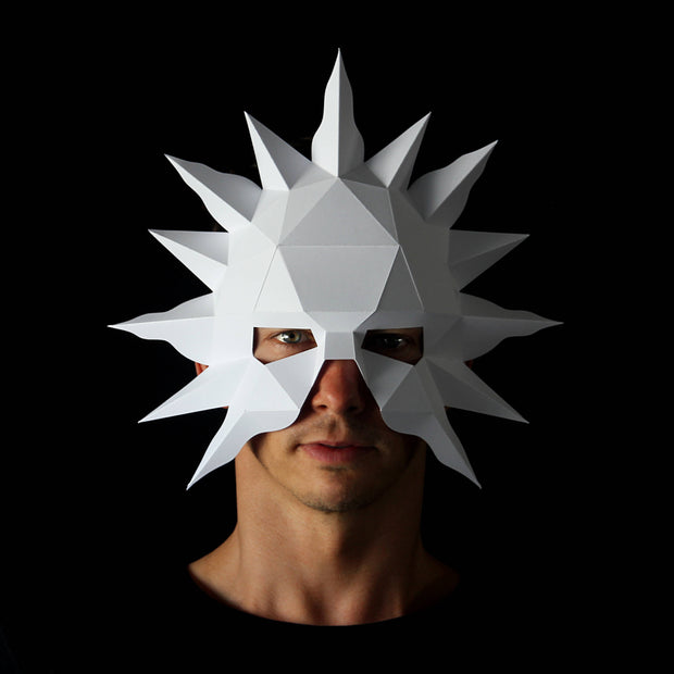 Geometric low poly papercraft Sun paper mask by Ntanos