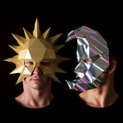 Geometric low poly papercraft Sun and Moon paper masks by Ntanos