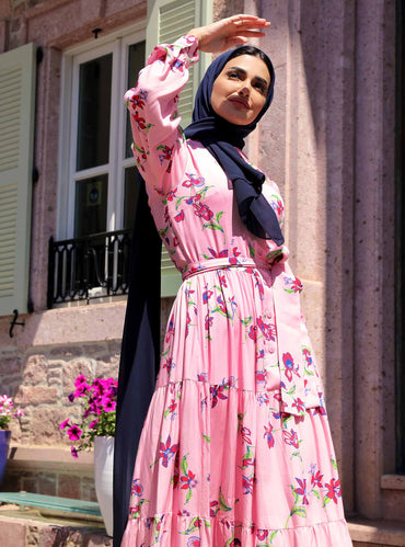 Buttoned Floral Pink Maxi Dress with Waist Belt - Store WF