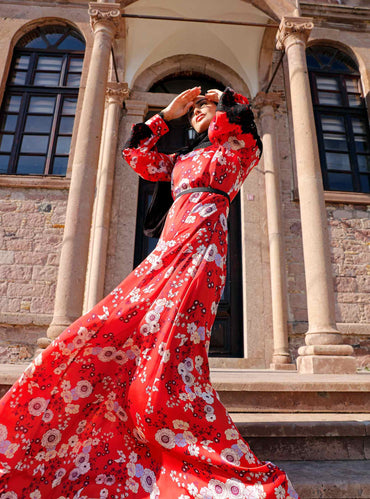 Red Base Floral Maxi Dress with Black Lace - Store WF