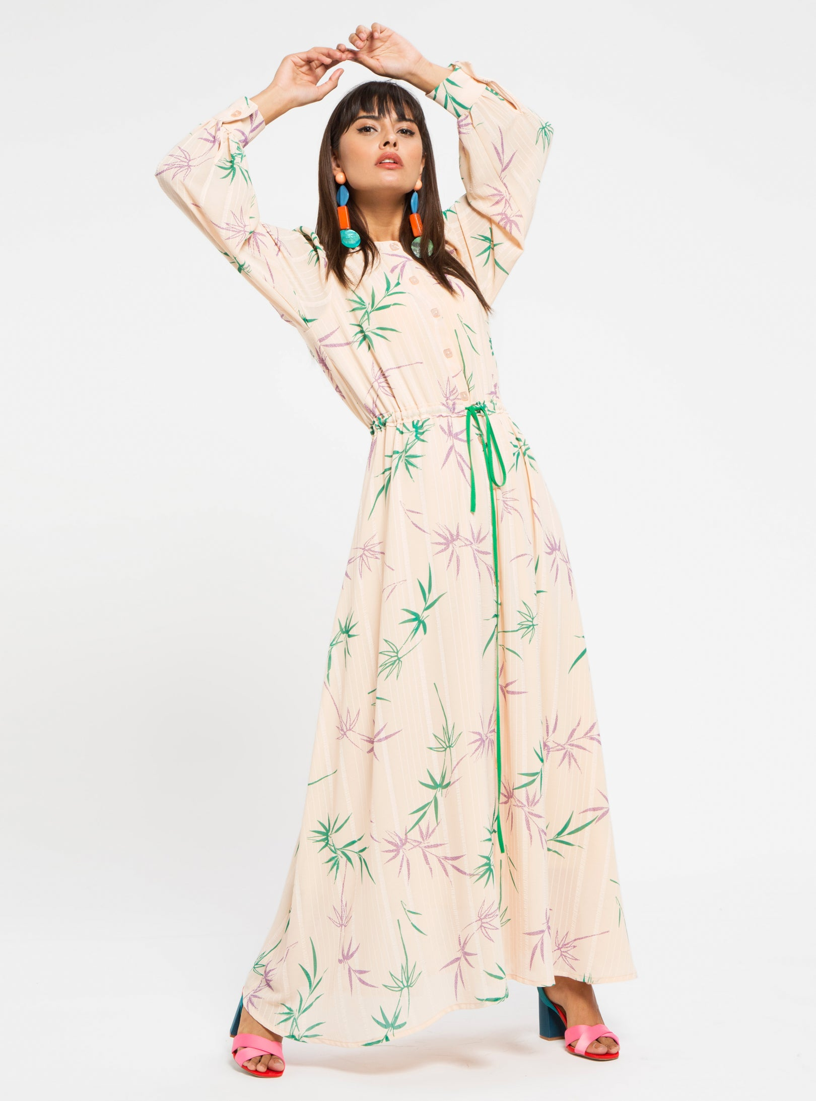 LEAF PRINT DRESS WITH BELT - Store WF