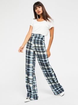 Check  High Waisted Trouser