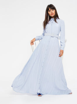 FLARED HEM SHIRT COLLAR MAXI DRESS WITH PEARL - Store WF