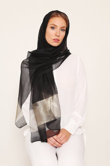100% SILK HIJAB BLACK GOLD