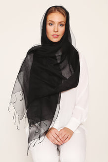 DOUBLE LAYER SILK HIJAB BLACK
