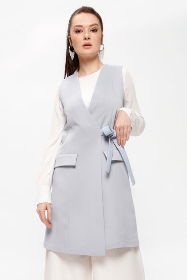 BLUE GILET WITH BELT - Store WF