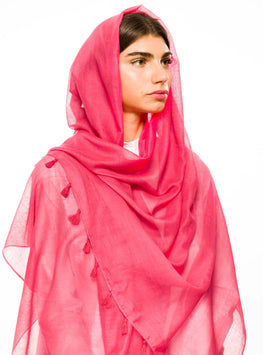 HOT PINK LARGE COTTON SCARF - Store WF