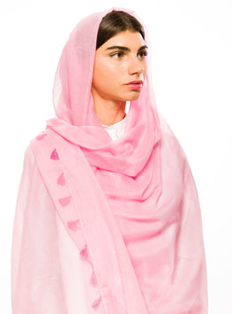 ROSE PINK LARGE COTTON SCARF - Store WF