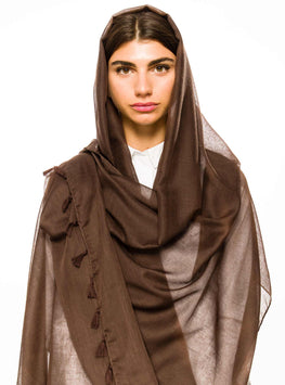 CHOCOLATTE BROWN LARGE COTTON SCARF - Store WF