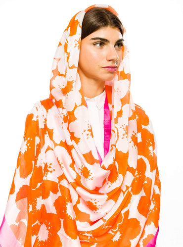 SILK VISCOSE ORANGE PINK FLORAL SCARF - Store WF