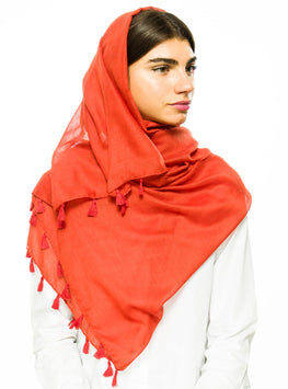 BURNT ORANGE LARGE COTTON SCARF - Store WF
