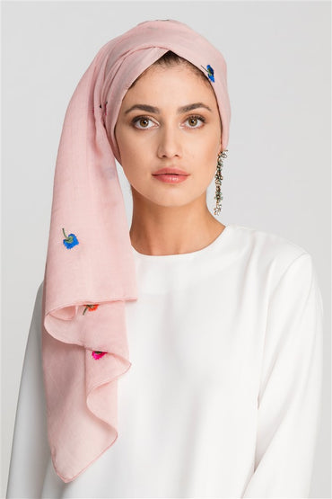 DUSTY PINK EMBROIDERY COTTON SCARF - Store WF