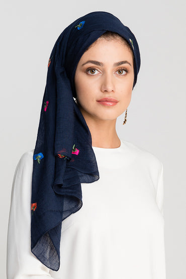 NAVY EMBROIDERY COTTON SCARF - Store WF