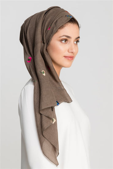 UMBER BROWN EMBROIDERY COTTON SCARF - Store WF