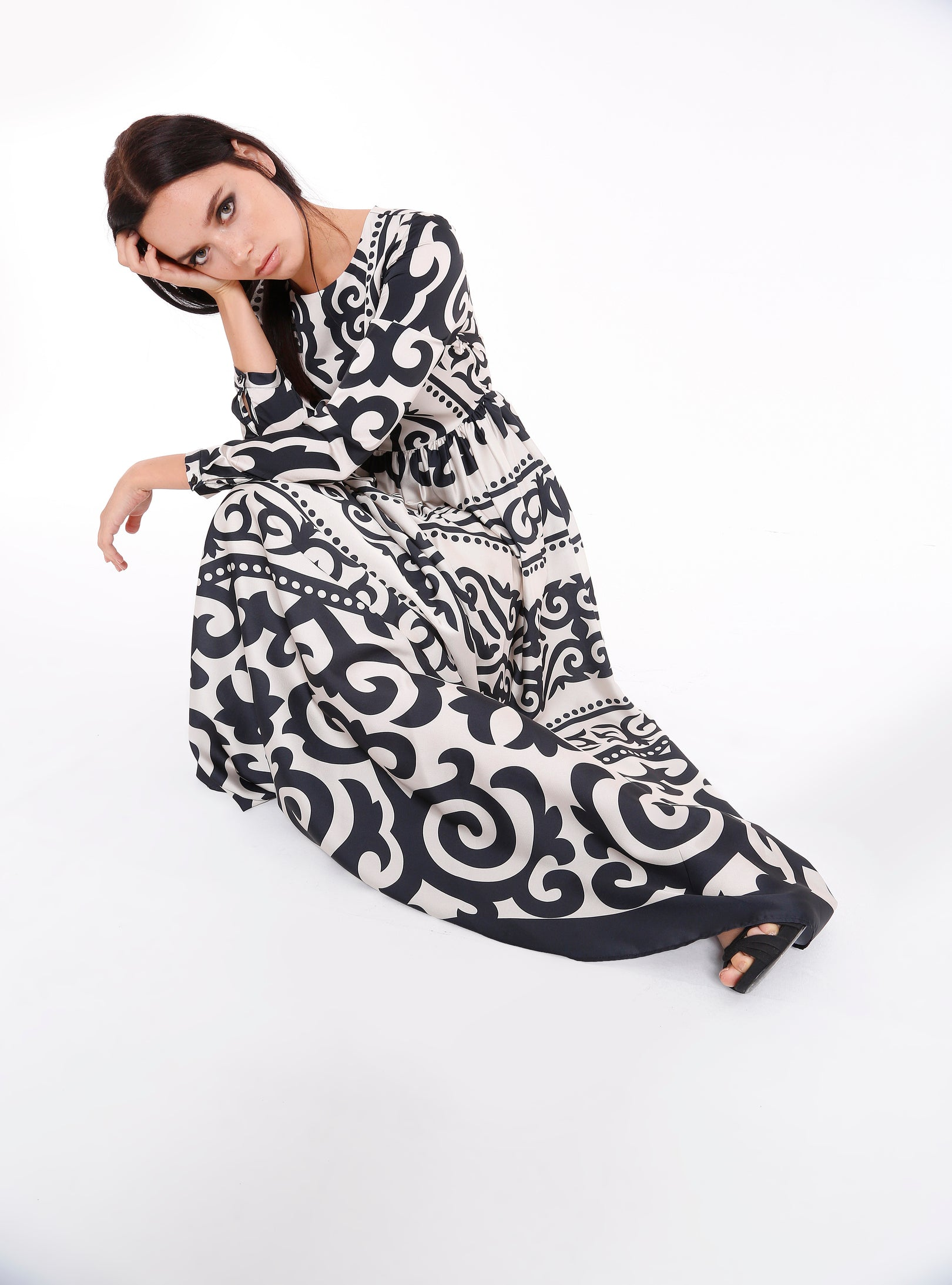 7f8209254cfc7 Black Pattern ottoman Maxi Dress
